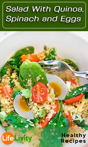 Salad With Quinoa, Spinach and Eggs
